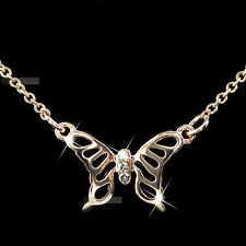 18K ROSE GOLD GP SWAROVSKI CRYSTAL PENDANT NECKLACE FILIGREE BUTTERFLY SMALL