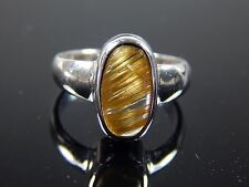 25 cts. RUTILATED QUARTZ CAT'S EYE QUARTZ IN SOLID STERLING SILVER RING JEW 214