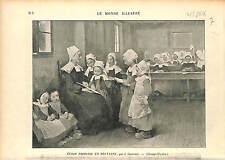 ECOLE PRIMAIRE BRETAGNE Breizh ECOLIER COSTUME GRAVURE  1896