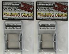 2 x Folding SLIVER Ringside Chairs WRESTLING FIGURE ACCESSORY  WWE TNA
