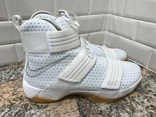 Nike LeBron James Soldier 10 X SFG White Gum Metallic Silver SZ 9 844378-101