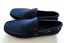 $750 NEW BRIONI Blue Suede Shoes Loafers Moccasins 9.5 US 42.5 Euro 8.5 UK