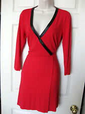 BEBE RED LONG SLEEVE STRETCH TRIM WRAP DRESS NEW NWT MEDIUM M