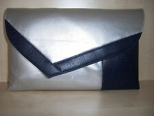 OVER SIZED NAVY BLUE & SILVER asymmetrical faux  leather clutch bag BN