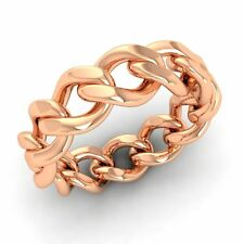Men's Chain Link Band / Ring In Solid 18k Rose Gold- 6 mm Band Free Shipping