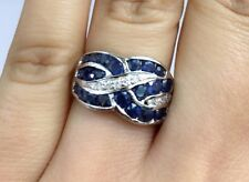14K Solid White Gold Cluster Band Diamond Ring With Natural Round Sapphire, Sz 8