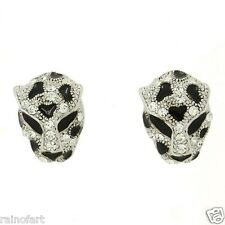 Jaguar Cheetah Tiger Leopard W Swarovski Crystal Silver Finish New Earrings