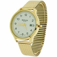 Mens Quartz Watch. Gold Tone Expandable Bracelet, Calendar Date Display,