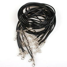 10x New Black Leather Cord Necklaces + Lobster Clasp Jewelry Charms On Sale D