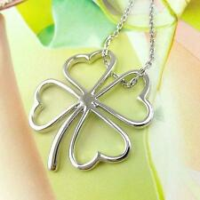 Silver Plated Shamrock Necklace Irish Celtic Luck Clover 16 inches USA Seller