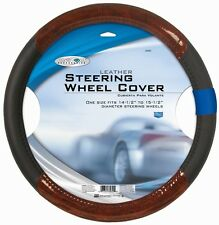Black Genuine Leather Steering Wheel Cover with Wood Grain Design Universal 15""