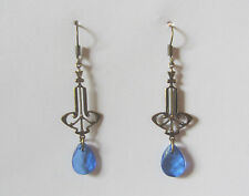 ELEGANT GOLD PLATED BLUE ACRYLIC TEARDROP ART NOUVEAU STYLE DROP EARRINGS V HOOK