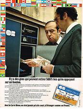 PUBLICITE ADVERTISING 045  1974  CARTE BLEUE distributeur automatique de billets