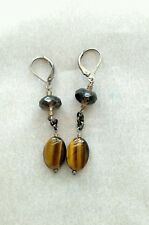 STERLING SILVER TIGER EYE EARRINGS WITH SMOKY QUARTZ