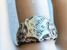 RARE VINTAGE STERLING 800 SILVER SALONICA GREECE 1945  RING s 7.5