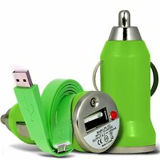 Green Single Port USB Car Charger & Flat Data Cable For Huawei Honor 7