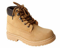 MENS HONEY LEATHER SUEDE LACE UP ANKLE WALKING HIKING WORK BOOTS SHOES UK 6-12