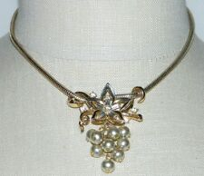 VTG CROWN TRIFARI 1951 Clear Rhinestone Pearl Flower Patent Pending Necklace