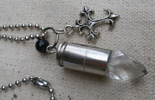 Vampire Charm Necklace w/real 9mm casing,gothic cross,acrylic crystal-steampunk