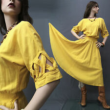 SALE Vintage 70s 80s Southwest Dress NEW HERO Native American Cotton Yellow XS-M