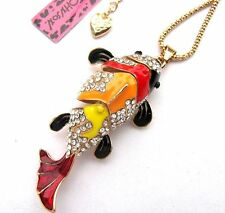Betsey Johnson crystal/colour enamel Beautiful clownfish pendant Necklace#337L