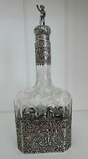 Wolf & Knell  Hanau Silver Mounted  Etched Art Glass Decanter 19th Century