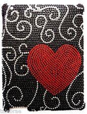 Ipad 2 Estuche/cubierta Con Bling diamante rojo amor corazón y el diseño negro