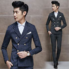 New Men's Vintage Striped Double Breasted Pop Slim Fit Casual Blazer Coat Jacket