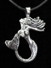 Mermaid Shiny Silver Pewter Pendant Beach Life Surfer Jewelry for Necklace