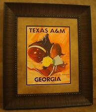 """VINTAGE TEXAS A&M COLLEGE FOOTBALL POSTER  FRAMED """"A&M VS GEORGIA"""" OCT. 1953"""