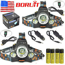 2x BORUiT 13000lm 3xXM-L T6 LED Headlamp Headlight 18650 Battery +Charger Sets