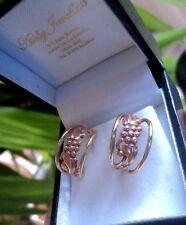 Cymru Y Metel Welsh 9ct Gold Tree Of Life WIDE  Rose & Yellow Gold Hoop Earrings