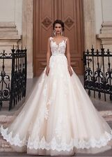 UK New Arrival Sexy White/Ivory/champagne Wedding Dress Bridal Gown  Size 6-16