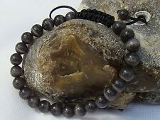 Men's Shamballa bracelet all 8mm GREY CATS EYE STONE beads