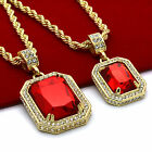 Men's 14k Gold Plated High Fashion 2 Pieces Ruby Set 4mm 30