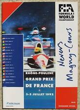 FRENCH GRAND PRIX 1992 FORMULA ONE F1 Magny Cours OFFICIAL Programme