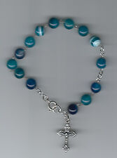 Handmade 8mm rosary bracelet made with blue and white mix agate stones