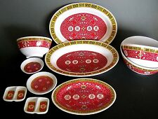Tar-Hong Chinese Pattern Melamine 10 Piece Serving Set Platters and Bowls