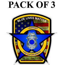PACK OF 3 Blue Lives Matter American Flag Police Car or Truck Decal Sticker