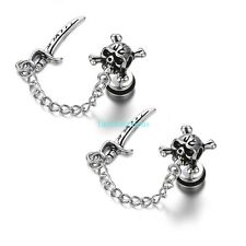 2PCS  Vintage Gothic Stainless Steel Pirate Skull Mens Dangle Earrings w/ Chain