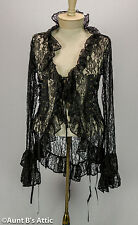 Pirate Lace Jacket Ladies Black Lace Sexy Ruffled Open Front Shirt Jacket OS