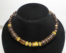 Silpada Sterling Silver PALM WOOD TIGER EYE YELLOW JADE NECKLACE--N1361--RETIRED