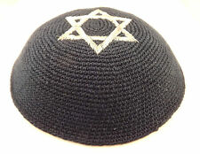 Blue Silver Star Of David Knitted Yarmulke Kippah 16 cm Jewish Kippa Hat Cupples