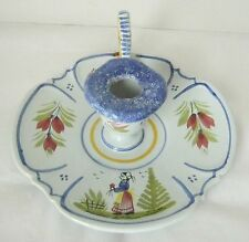 HB HenRiot Quimper France Faience Pottery Breton Woman One Finger Candle Holder