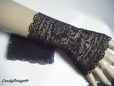 Stretch black lace subtle silver shimmer fingerless gloves/ mittens victorian