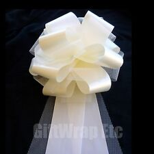 6 Large Ivory Tulle Pew Pull Bows Church Wedding Chair Bench Decorations