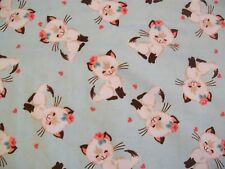 Feminine Kitty - Snuggle Cotton Flannel Fabric - BTY - Blue Kitty Cat