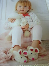 Knitting Pattern For Baby's Very Sweet Bunny Slippers In Baby D.K.To fit 6-18mth
