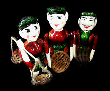 Lovely Set of 3 Vietnamese Wood Carved Fisherman Puppet Doll - Free Shipping