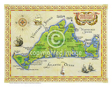 """19.5 x 25"""" Martha's Vineyard Vintage Look Map Printed on French Parchment Paper"""